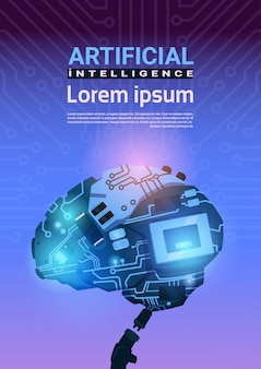 Modern cyborg brain mechanism over circuit moederbord achtergrond verticale banner met kopie ruimte