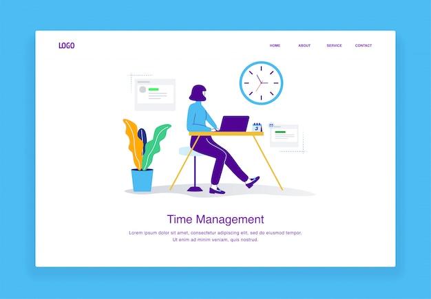 Modern de illustratieconcept van het tijdbeheer vrouwenzitting bij een bureau die de klok voor landingspaginasjabloon bekijken