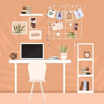 Modern design interieur en werkplek in huis