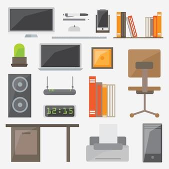 Modern design platte pictogram vector collectie concept, kantoor dingen en apparatuur.