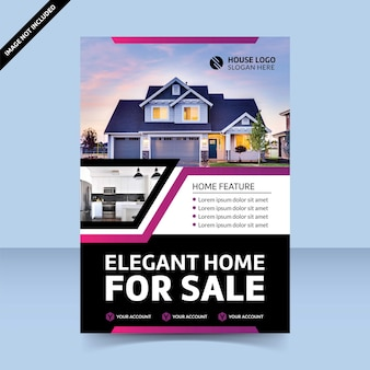 Modern dia-ontwerp elegant huis te koop flyer-sjabloonontwerp