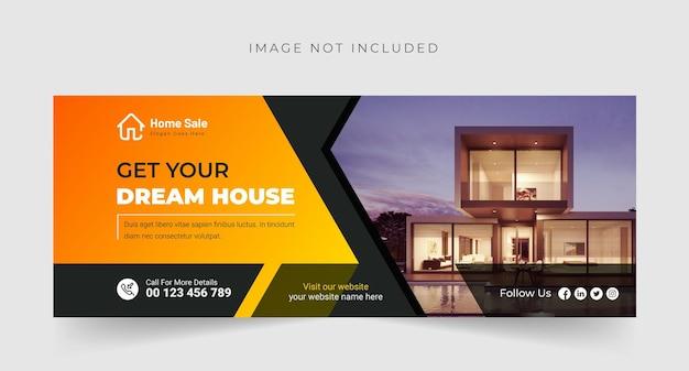 Modern droomhuis of onroerend goed facebook-omslag of bannerontwerp premium vector