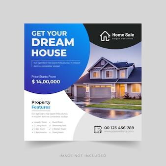 Modern droomhuis of onroerend goed instagram-post of bannersjabloon premium vector