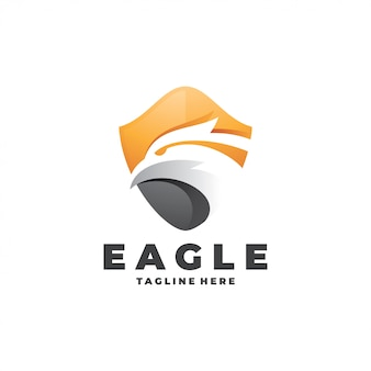 Modern eagle falcon head and shield-logo