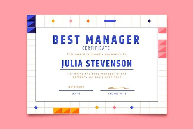Modern eenvoudig beste manager award-certificaat