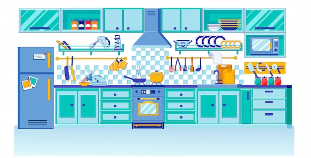 Modern eigentijds keukenontwerp in vlakke stijl