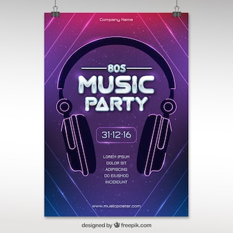 Modern eighties party poster met een koptelefoon