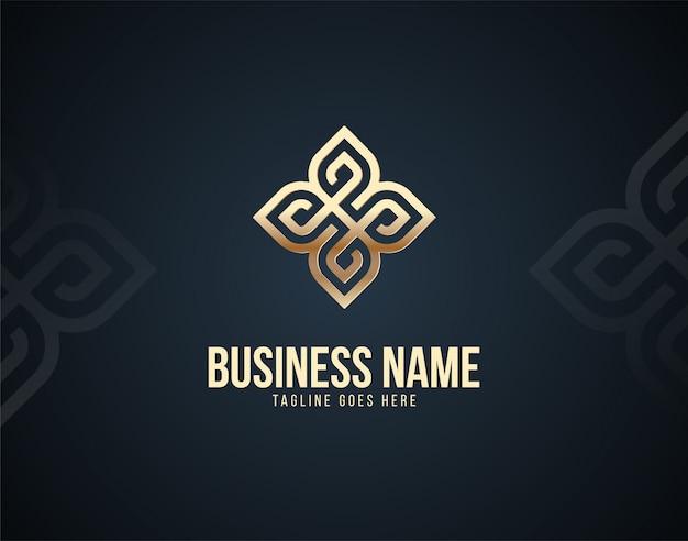 Modern en luxe abstract ornament ontwerpsjabloon logo met gouden kleureffecten