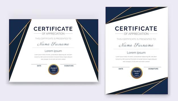 Modern en professioneel certificaat van waardering award sjabloon met blauwe en gouden vormen en badge.