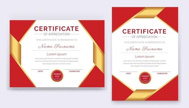 Modern en professioneel certificaat van waardering award sjabloon met rode en gouden vormen en badge.