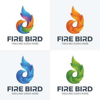 Modern fire bird-logo met 3d-stijl.