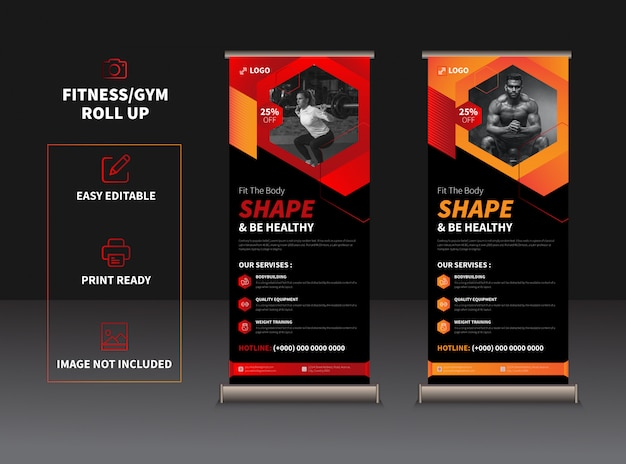 Modern fitness & gym rollup-sjabloon