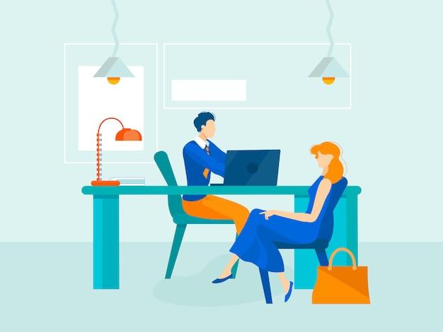 Modern flat characters interview, meeting, communicatie.