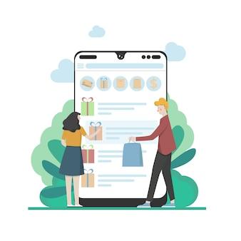 Modern flat design mensen en business concept voor m-commerce, makkelijk te gebruiken en zeer aanpasbaar. modern illustratieconcept, dat op witte achtergrond wordt geïsoleerd.
