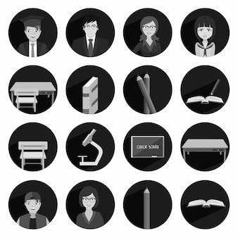 Modern flat icon vector illustratie collectie met lange schaduw in zwart-witte kleuren op middelbare school en college onderwijs met het leren en leren symbool en object geïsoleerd op witte achtergrond