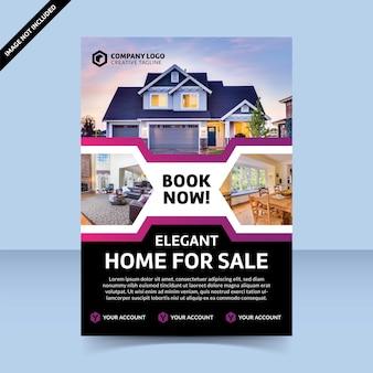 Modern flyer-sjabloon elegant huis te koop, beste ontwerp
