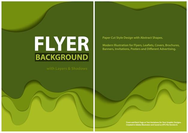 Modern flyerpapier gesneden stijlontwerp met groene lagen