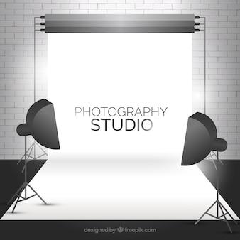 Modern fotostudio met een bakstenen muur