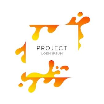 Modern frame op witte achtergrond. heldere poster met dynamische spatten. illustratie minimale stijl