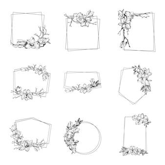 Modern frame van de lente met magnolia bloemen, bladeren en takken zijn in gravurestijl