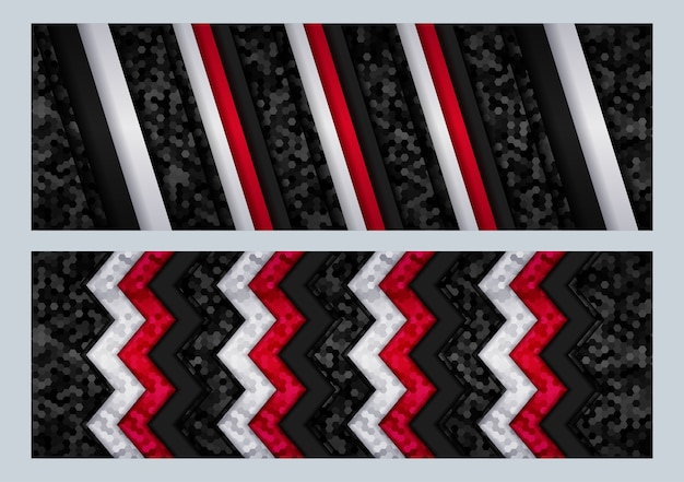 Modern futuristisch tech-ontwerp met zwarte en grijze metalen koolstof overlapt donkere zeshoekige achtergrond