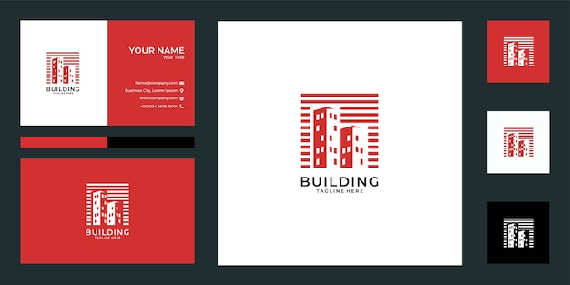 Modern gebouw logo-ontwerp en visitekaartje