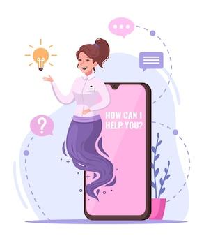 Modern geniekarakterconcept met cartoon van hulpsymbolen voor mobiele telefoons