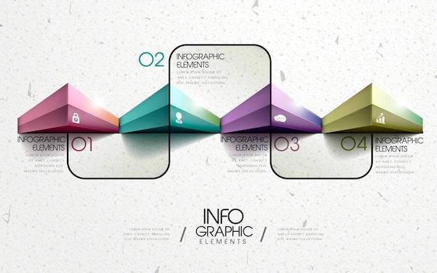 Modern geometrisch infographic sjabloonontwerp met glanzende driehoekselementen