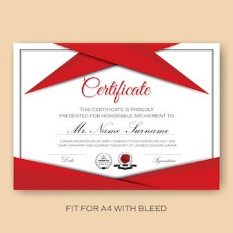 Modern geverifieerd certificaat achtergrond sjabloon met rood kleur schema