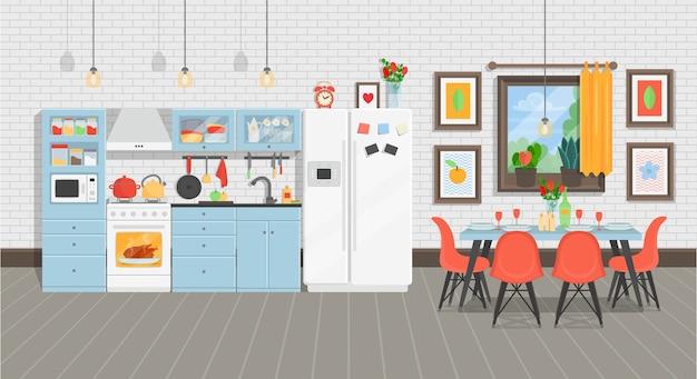 Modern gezellig keukenbinnenland met koelkast