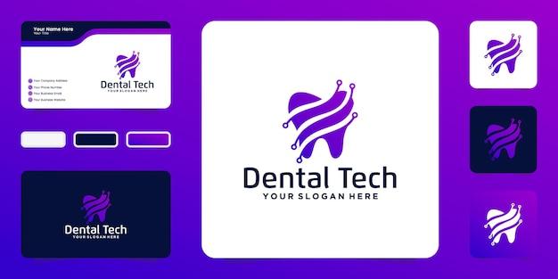 Modern gezondheidslogo voor tandheelkundige technologie en inspiratie voor visitekaartjes