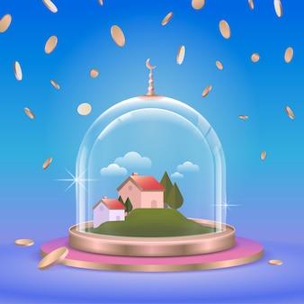 Modern glazen koepel of podiumstandaardproduct met conceptillustratie van koepelglas