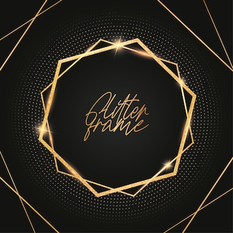 Modern glitterframe met gouden glanzend
