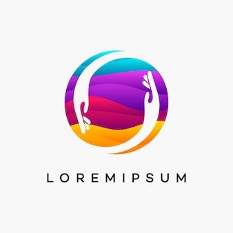 Modern golvend mensen liefdadigheidslogo, helpen, zorg, gezondheidszorg logo-ontwerpsjabloon