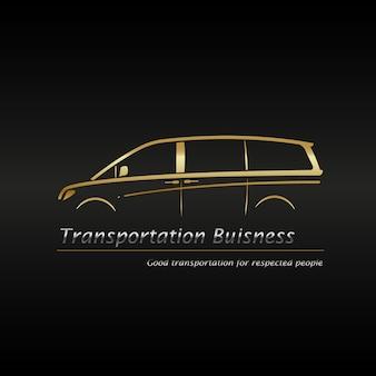Modern gouden minivan in zwart achtergrond bedrijfsembleem.