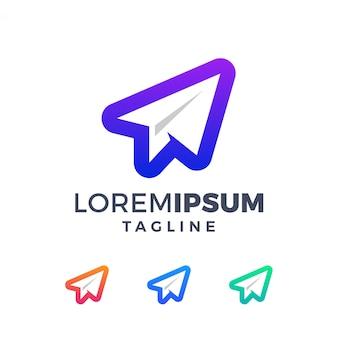 Modern gradiënt papier vliegtuig logo