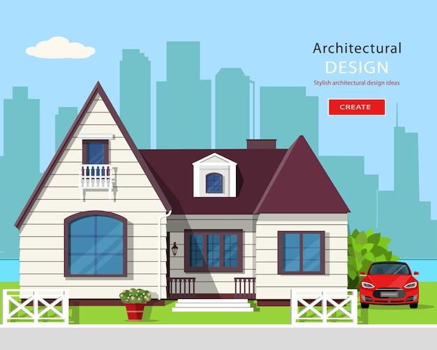 Modern grafisch architectonisch ontwerp. kleurrijke set: huis, auto, tuin, bloemen en bomen. vlakke stijl illustratie.