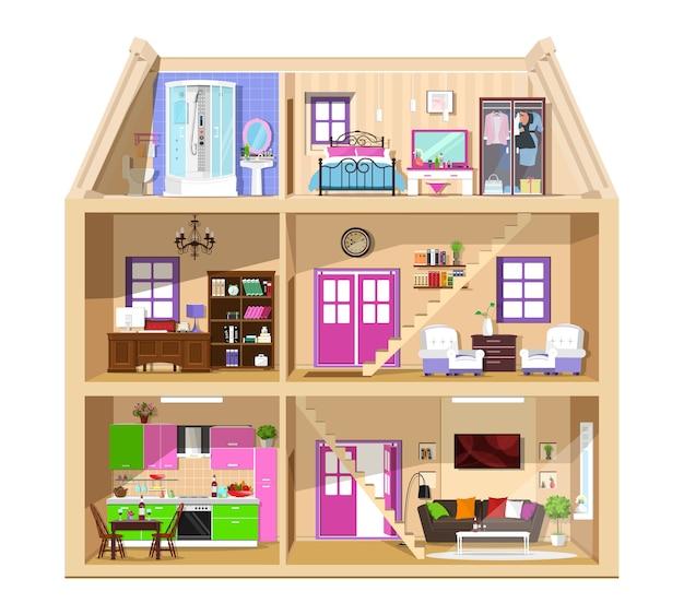 Modern grafisch schattig huis in snit. gedetailleerd kleurrijk huisbinnenland. stijlvolle kamers met meubilair. huis binnen.