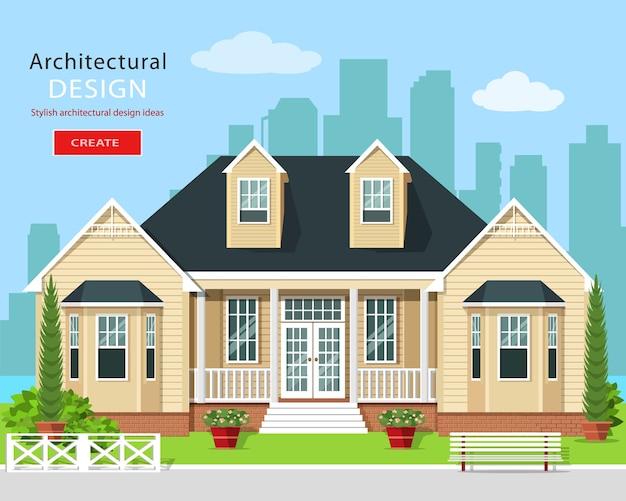 Modern grafisch woonhuis met bomen, bloemen en skyline van de stad. onroerend goed. stijlvol gedetailleerd gebouw met erf. illustratie.