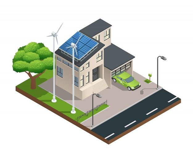 Modern groen ecohuis met de zonnepanelen die van het garagazaad elektriciteit op dak produceren