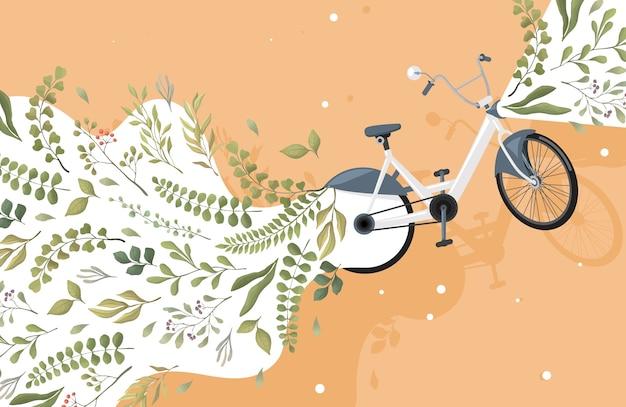 Modern groen en milieuvriendelijk stadsvervoer plat concept. fiets en groene bladeren illustratie.