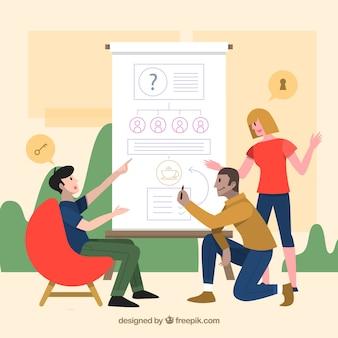 Modern groepswerkconcept met vlak ontwerp