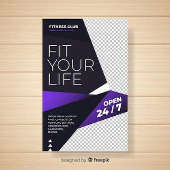 Modern gym folder sjabloon met abstract ontwerp