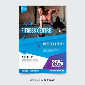 Modern gym folder sjabloon met afbeelding