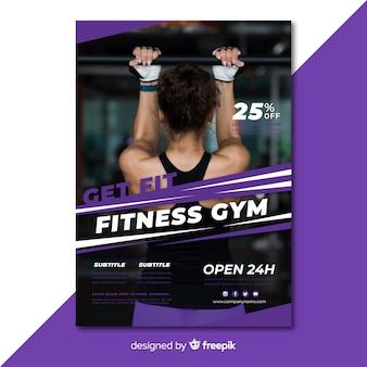 Modern gym folder sjabloon met foto