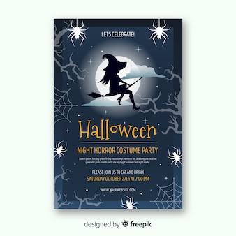 Modern halloween-feestaffichemalplaatje met vlak ontwerp
