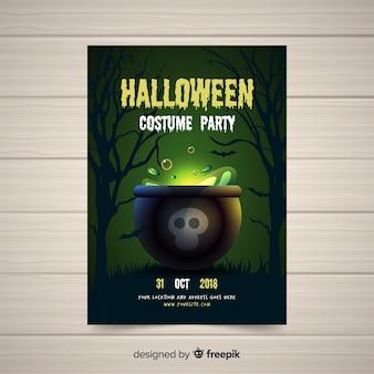 Modern halloween-feestpostersjabloon met realistisch ontwerp