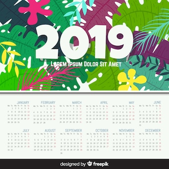 Modern hand getekend 2019 kalendersjabloon
