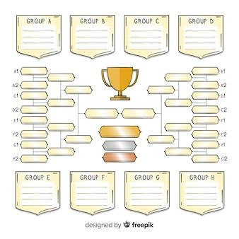 Modern hand getrokken toernooischema