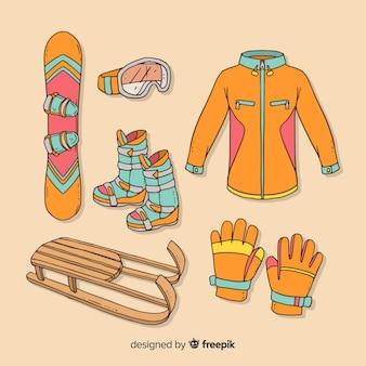 Modern hand getrokken wintersportuitrusting